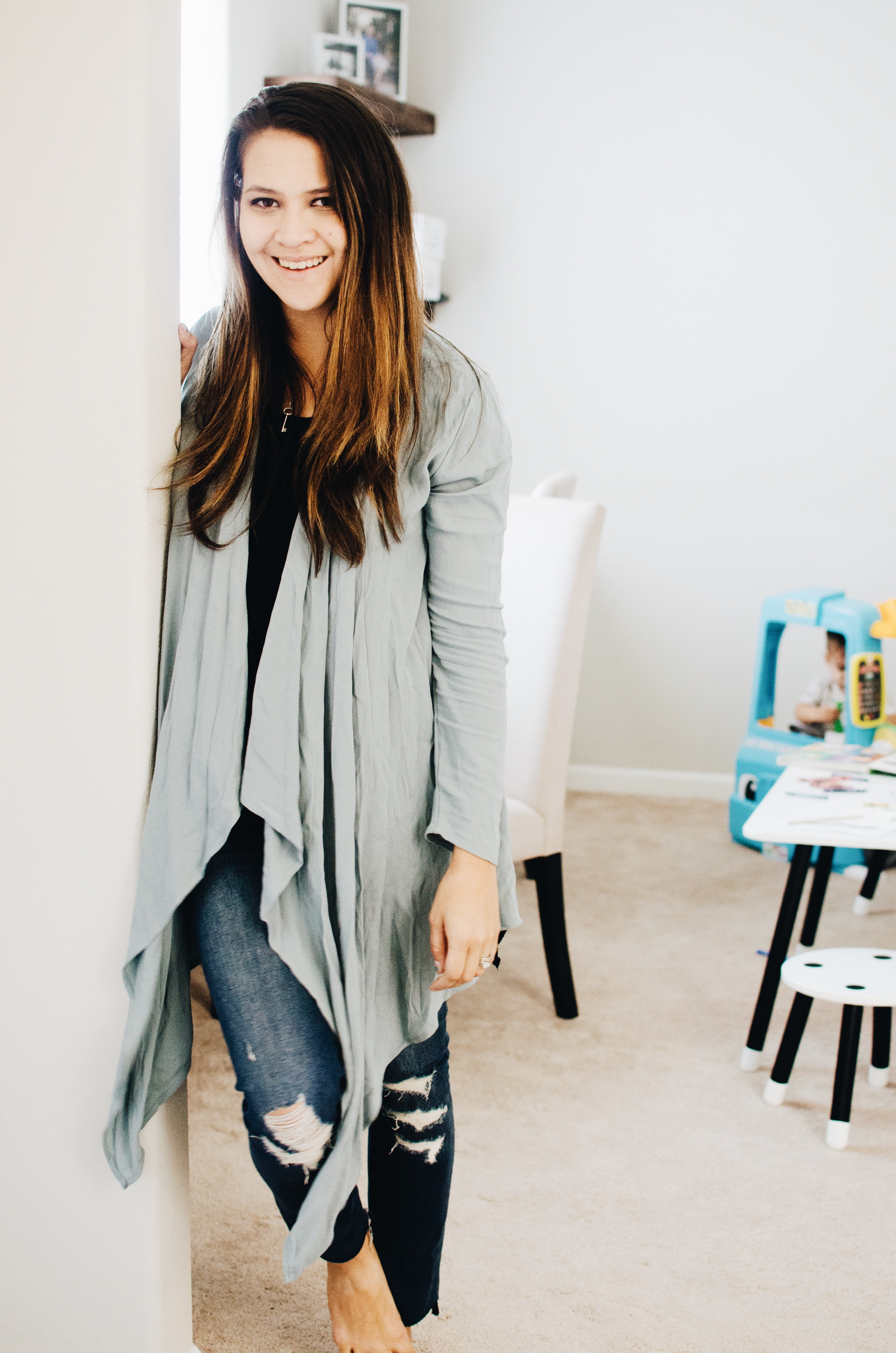 Our mornings at home in a Pink Blush long cardigan. Perfect for cool mornings and drinking coffee